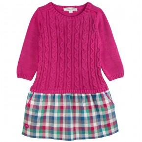 Dress with checks skirt
