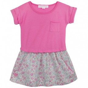 Girls Dress with Floral Liberty skirt