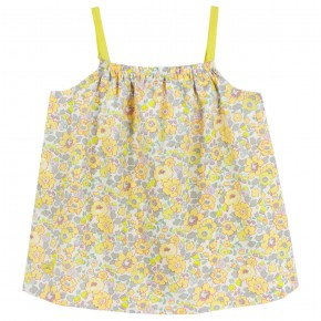 Girls Yellow Floral Liberty Sphaghetti top