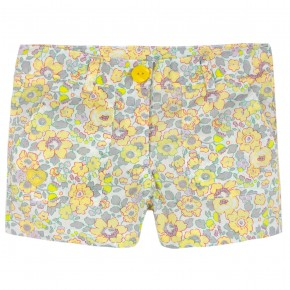 Girls Yellow Floral liberty shorts
