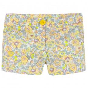 Girls Yellow Floral liberty shorts