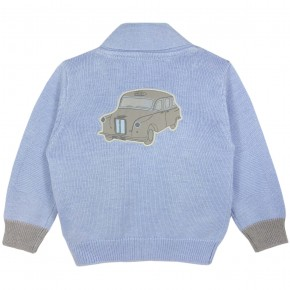 Boy Blue cardigan with car motif