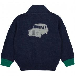 Boy Navy cardigan with car motif