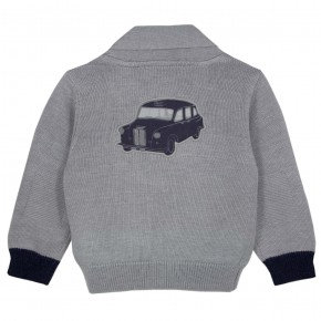 Boy Grey cardigan with car motif