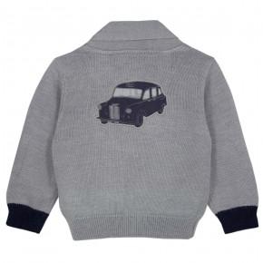 Boy Grey cardigan with car motif