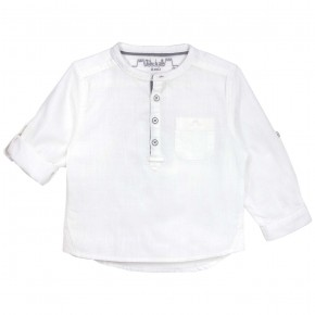 Boys White Mao Collar Long sleeves shirt