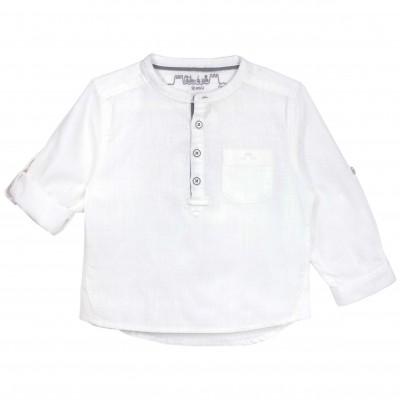 Boys White Mao Collar Long sleeves shirt