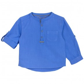 Boys blue Mao Collar Long sleeves shirt