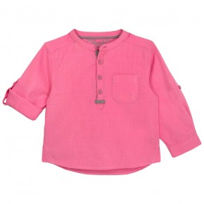 Boys Fuchsia Mao Collar Long sleeves shirt