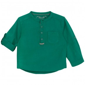 Boys Green Mao Collar Long sleeves shirt