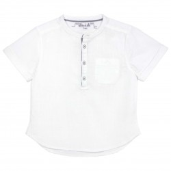 Boys Short sleeves Mao Collar Shirt in White