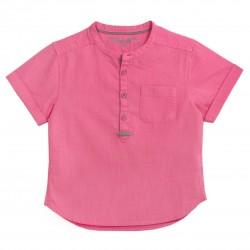 Boys Short sleeves Mao Collar Shirt in Fuchsia