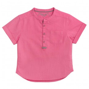 Boys Short sleeves Mao Collar Shirt in Fuchsia