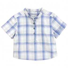 Chemise à carreaux col mao