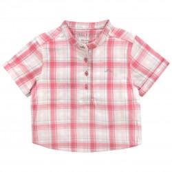 Boy Shirt with coral checks