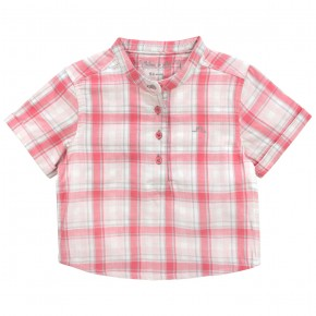 Boy Shirt with coral checks