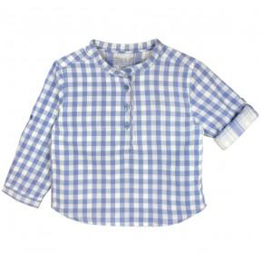 Chemise à carreaux bleus col Mao