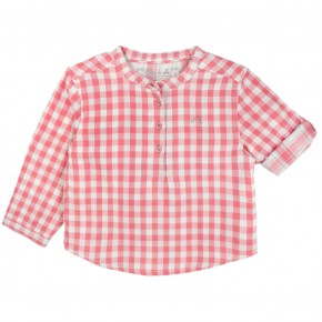 Boy Shirt with Coral Checks and Mao collar