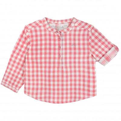 Boy Shirt with Coral Checks and Mao collar