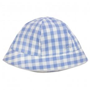 Chapeau bébé à carreaux bleus