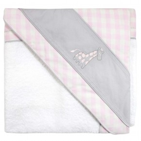 Baby Towel with Pink Checks