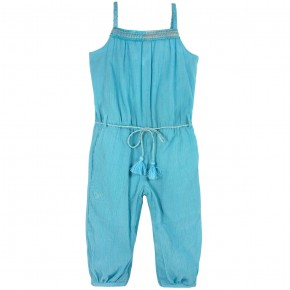 Girl Jumpsuit in Turquoise crepe