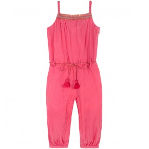 Girl Jumpsuit in Coral crepe