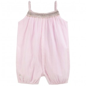 Baby Girl Romper in Pink Crepe