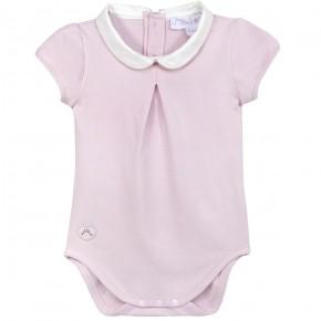 Girl Pink Bodysuit Peter Pan Collar