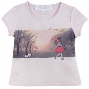 Girl Pink T-shirt with drawing print
