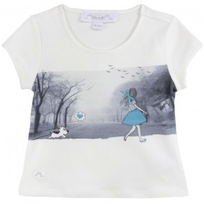 Girl White T-shirt with drawing print