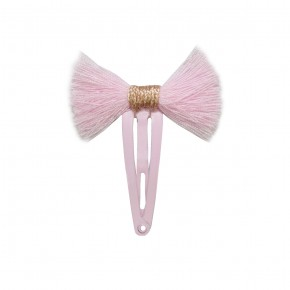 Girl Hair Clip with Pink Fray