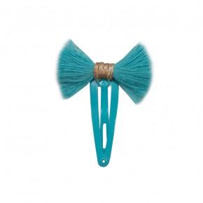 Barrette turquoise avec noeud en franges