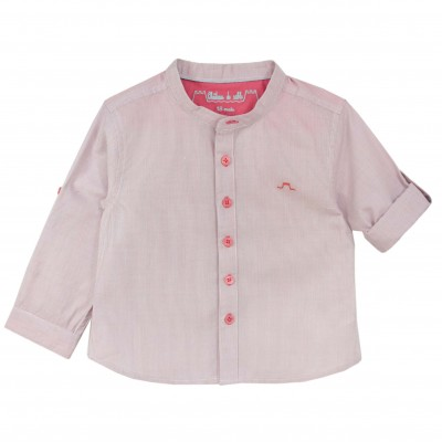 Boy Shirt with Stripped and Mao Collar
