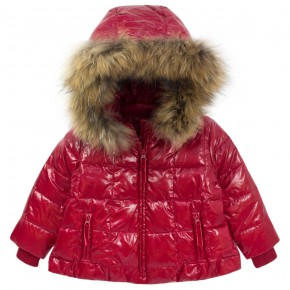 Girl Red Downcoat with removable hood