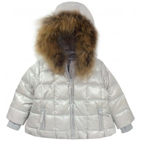 Girl Grey Downcoat with removable hood