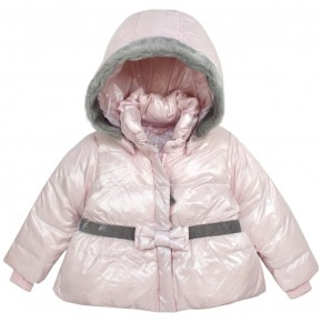 Girl Pink Downcoat with removable hood
