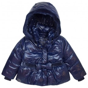 Girl Navy Downcoat with removable hood