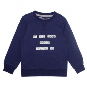 Boy Navy Sweater with Scrabble Print