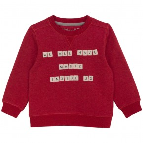 Unisex Red Sweater with Scrabble Print