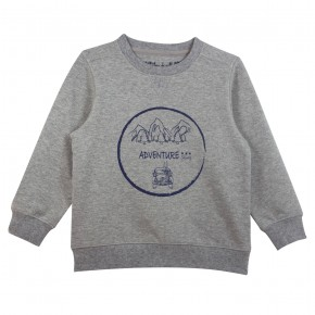 "Boy Sweater ""Adventure"" Print in Grey"
