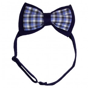 Double Bow Tie in Navy Checks