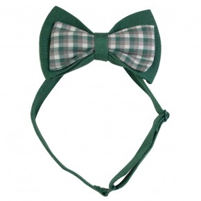 Double Bow Tie in Green Checks
