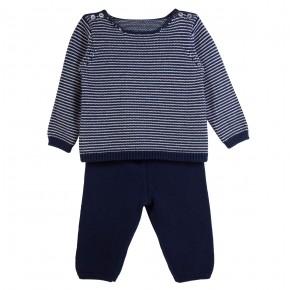 Ensemble bébé en maille bleue marine