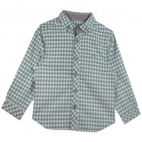 Chemise à carreaux verts et gris
