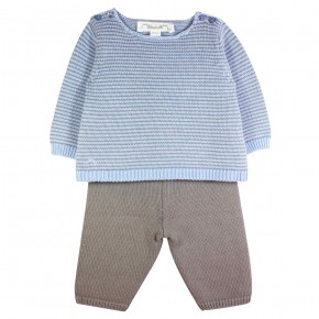 Baby Boy Set in Blue Knit