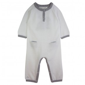 Unisex White Rompersuit with rabbit appliqué