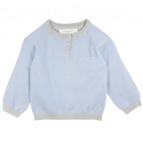 Blue Sweater with rabbit appliqué