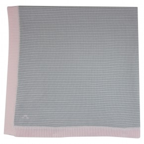 Baby blanket with pink stripes