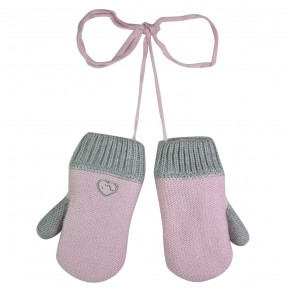 Knit Mittens in Grey and Pink